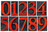 isolated number set in wood type