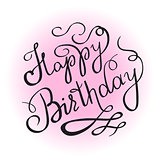 Happy birthday handwritten lettering design element for invitation