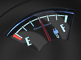 Electric fuel gauge with the needle indicating a middle battery