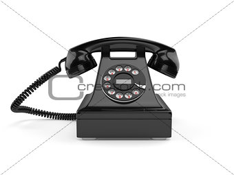 Black old-fashioned classic phone isolated on white background
