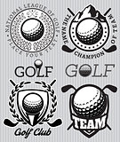 set of vector patterns badges for golf
