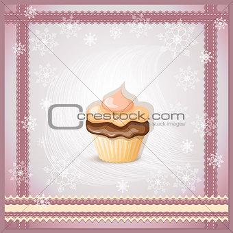 christmas banner with cupcake