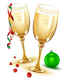 Two glasses of champagne. New Year Eve