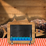 Blackboard Fish Shaped with Fishing Nets