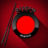 Sushi Menu on Red Velvet Background