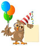 Owl holding balloons. Carnival