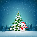The Christmas snowman and spruce