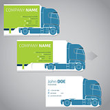 Two piece business card with truck and trailer