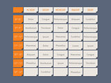Orange timetable flat style with sample text