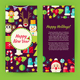 Flyer Template of Flat Happy New Year Objects and Elements