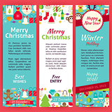 Happy New Year Invitation Vector Template Flyer Set