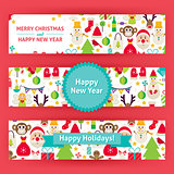 Happy New Year Vector Template Banners Set Modern Flat