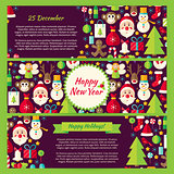 Happy New Year Winter Vector Template Banners Flat Set