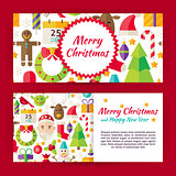 Merry Christmas Flat Style Vector Template Banners Set
