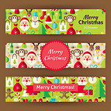 Merry Christmas Template Banners Set in Modern Flat Style