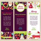 Merry Christmas Vector Party Invitation Template Flyer Set