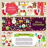 Merry Christmas Vector Template Banners Set in Modern Flat Style