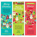 Winter Christmas Holiday Vector Invitation Template Flyer Set