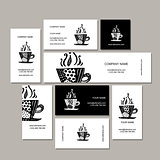 Business cards collection, coffee cup design