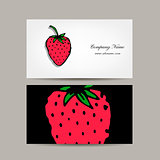 Business card template, strawberry design