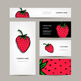 Business cards collection, strawberry design