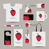 Corporate business cards, strawberry design