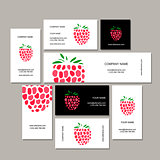 Business cards collection, raspberry design
