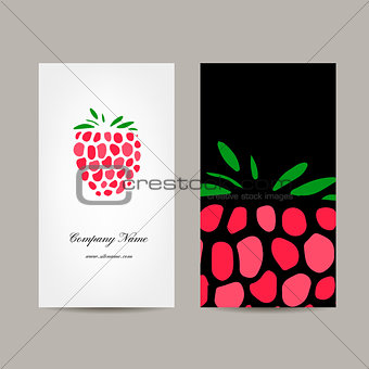 Business card template, raspberry design