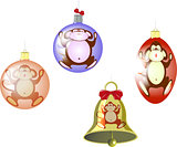 Set of Christmas tree balls and a bell with a monkey. EPS10 vector illustration