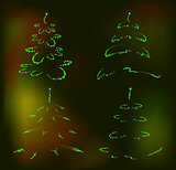 Set of abstract brilliant Christmas trees. EPS10 vector illustration