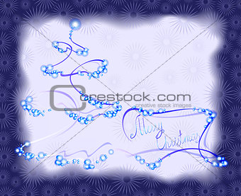 Postcard with Christmas tree in frame. EPS10 vector illustration