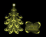 Postcard with golden Christmas tree. EPS10 vector illustration