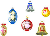 Set of Christmas tree balls and a bell with a monkey and hieroglyph. Translation of hieroglyph - monkey. EPS10 vector illustration
