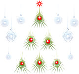 Set of abstract green Christmas tree with red balls and snowflakes. EPS10 vector illustration