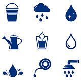 set blue watering icons