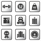 set of weight icons