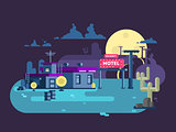 Motel night flat design