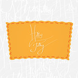 Holly Jolly. Handwritten vector calligraphy over seamless background, consist of greetings lettering