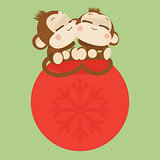 Cute monkey couple. Happy New Year 2016. Vector Illustration