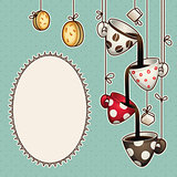 Vintage doodle coffee chocolate cups, cookies and sugar. Vector illustration