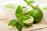 mint infusion tea tisane with lime
