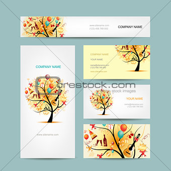 Business cards design, holiday tree