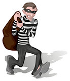 Robber in mask carries bag