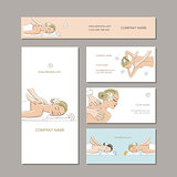 Business cards design, women in spa saloon