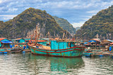 Asian floating village at Halong Bay