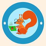 Squirrel the schoolgirl reading a book
