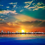 abstract stars background with sunset in Tallinn