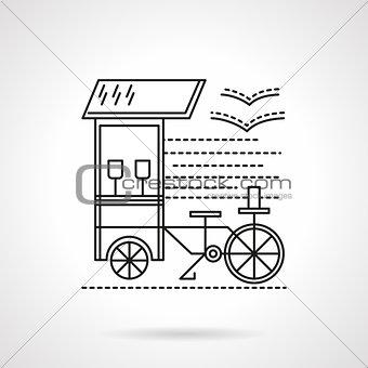 Flat black line coffee shop vector icon