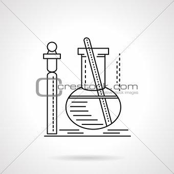 Flat black line laboratory test vector icn