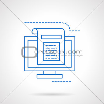 Blogging flat blue line vector icon